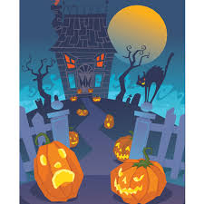 halloween back drop monster house printed backdrop backdrop express