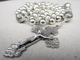 mens rosary handmade mens silver rosary necklace amykcollections on artfire