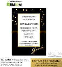 graduation packages black and gold confetti graduation announcement invitation