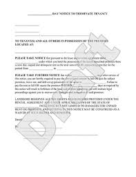 eviction notice form 30 day notice to vacate letter to tenant