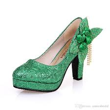 sell bridal shoes fashion green wedding shoes bridesmaid high