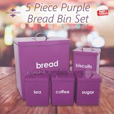 purple tea coffee sugar canisters bread bin storage set 5 kitchen