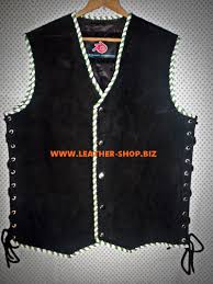 motorcycle vest suede leather vest 2 color braid biker mc style mlv840b