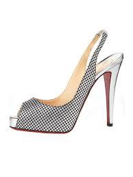 no prive slingback metallic fabric shoes louboutin sko udsalg