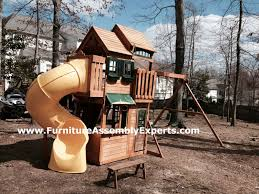 solowave design cedar summit wood play center backyard playset