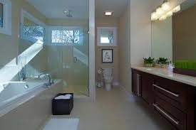 contemporary master bathroom with rain shower head by epic