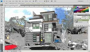 tutorial sketchup modeling watercolor style sketchup fotosketcher and photoshop sketchup