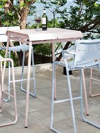 Modern Metal Garden Furniture Contemporary High Bar Table Metal Square Garden Corail By