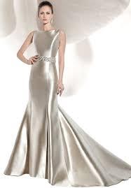 sleeveless micado satin fin n flare wedding dress demetrios 3207