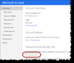 reset windows 8 password hotmail how do i change my hotmail or outlook com password ask leo