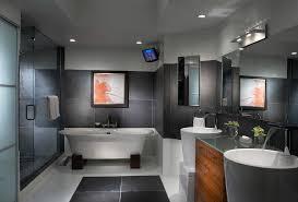 Contemporary Pedestal Sink Interior Stone Veneer Bathroom Contemporary With Gray Stone Shower