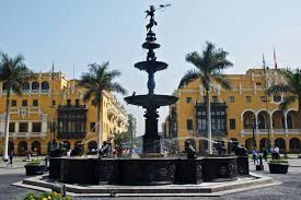 Lima Flag The Plaza De Armas In Lima
