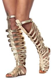 gold strappy gladiator sandals