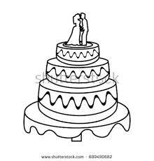 wedding cake outline wedding cake sweet outline stock vector 609490682