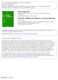 the use of malaysian english in creative writing pdf download