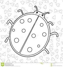 cute ladybird coloring book page outlined illustration of a