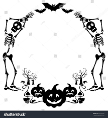 vectorof fall halloween background clip art free round halloween frame skeleton vector clip stock vector 451070776