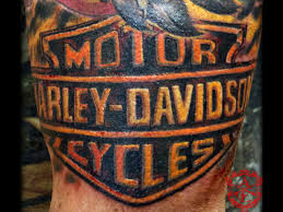 harley davidson logo tattoo done by sean ambrose at arrows and