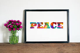 Rainbow Home Decor by Peace Wall Art Peace Artwork Peace Watercolor Peace Download