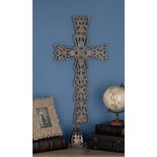 14 in x 25 in rustic wood and metal filigree wall cross 20384