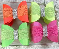 wholesale hair bows 3 2 satin luxe bow with rhinestone center neon bows satin bows