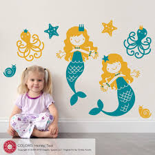 princess fairytale horse carriage castle princess theme mermaid wall decals medium twin pack