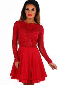 madly deeply red long sleeve crochet tulle skater dress pink