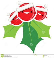 happy simple cartoon smiling christmas mistletoe santa claus cha