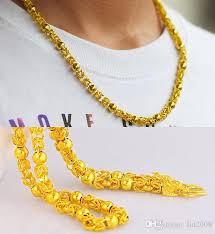 gold plated bead necklace images 2018 6mm 54cm men 24k gold plated double dragon head beads jpg