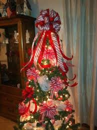 striped tree top or wreath bow on etsy