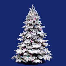 white christmas tree with colored lights the holiday aisle flocked alaskan 4 5 white artificial christmas