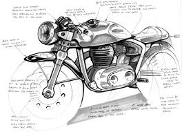 linework for xenophya design by rob leeman research cafe racer