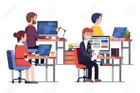 jeux de travail dans un bureau it ou jeu société de développement des personnes au travail groupe