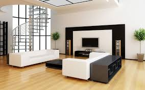 black and white interior with wall mounted tv idea attractive