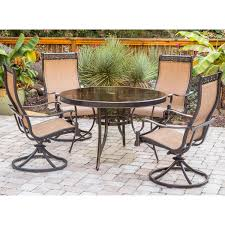 monaco 5 piece dining set with swivel sling chairs and glass top