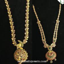 long necklace designs images Latest ruby emerald long necklace designs south india jewels jpg