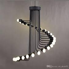 modern loft industrial chandelier lights bar stair dining room