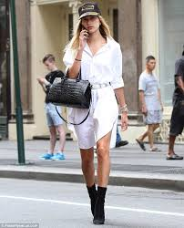hailey baldwin u0027s legs on full show while out for casual stroll in
