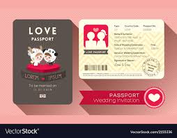 invitation card cartoon design cartoon passport wedding invitation card vector image