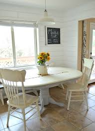 White Dining Room Table by Chalk Paint Dining Table Makeover Little Vintage Nest