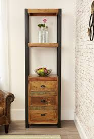 Narrow Bookcases Uk Industrial Chic Narrow Bookcase With Drawers Hampshire Furniture