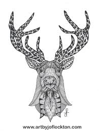 tangled deer head tangled art by jo flockton pinterest