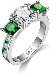 girls rings beautiful images Bestpicks 925 sterling silver clear and green cubic jpg