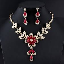 fashion jewelry red necklace images Jiayijiaduo hot african female costume jewelry set for women gold jpg