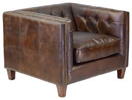 Brown Leather Accent Chair Cape Town Club Chair Antique Brown Leather Transitional