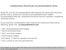 Electrician Resumes Samples by Construction Electrician Recommendation Letter