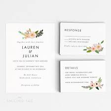 wedding invitation size printable wedding invitation set floral wedding