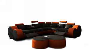 Orange Leather Sectional Sofa Modern Black And Orange Leather Sectional Sofa And Coffee Table