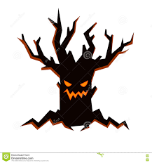 halloween scary clipart black evil tree with scary smiling face fire inside and bare