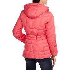 faded glory women s hooded puffer jacket coat walmart